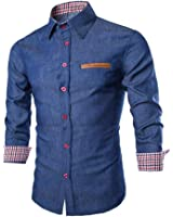 Clearance!Napoo Men Long Sleeves Turn-down Collar Button Lattice Patchwork Slim Fit Shirts