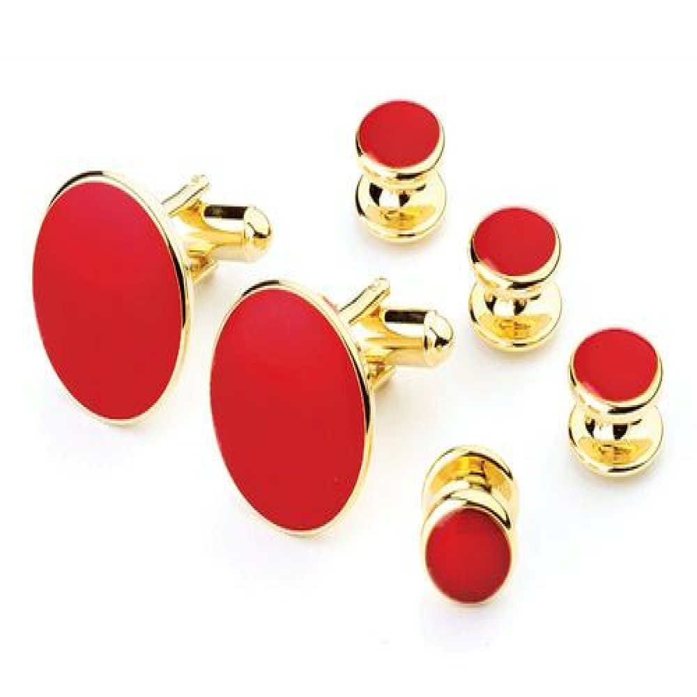 Red Tuxedo Studs and Cufflinks Set Gold Trim