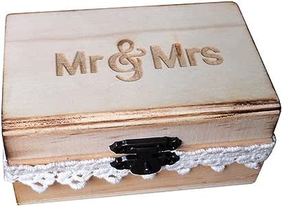 TOPBATHY Caja de Madera de Anillos de Novios Cajas de Madera para Decorar para Fiesta Ceremonia de Boda Vintage Caja de Joyería con Patron de Mr Mrs: Amazon.es: Hogar