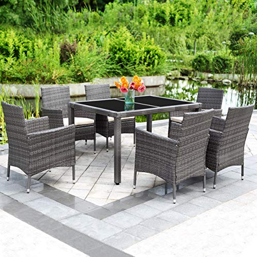 (Solaste 7pcs Outdoor Furniture All-Weather Patio Porch Dining Table and Chairs Grey Wicker with Washable Cushions)