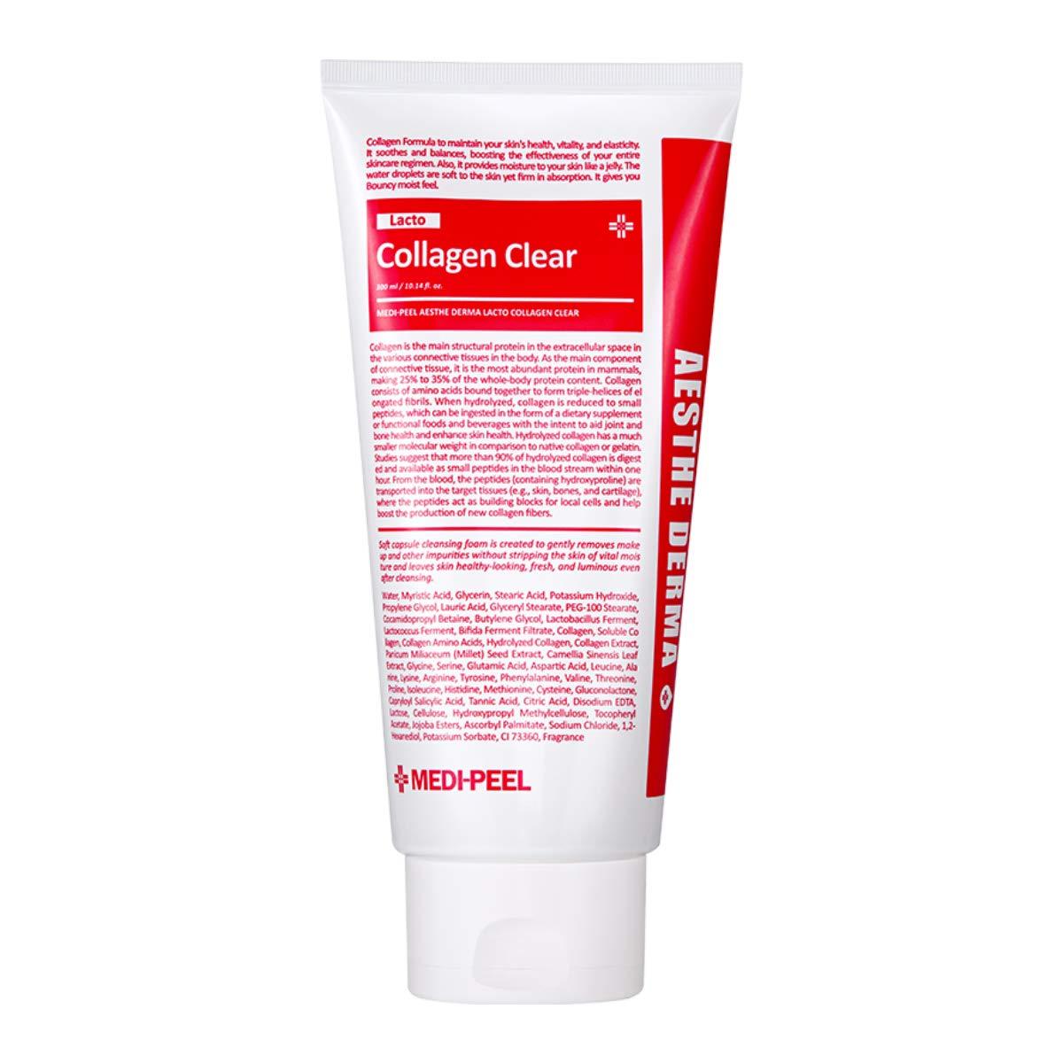 Medi-Peel Aesthe Derma Lacto Collagen Clear 300ml | Korean Facial Cleansing Foam | K-Beauty Skincare | Collagen Cleanser | Deep Cleansing | Pore Tightening | Micro Bubble | Exfoliating Cleansing Foam