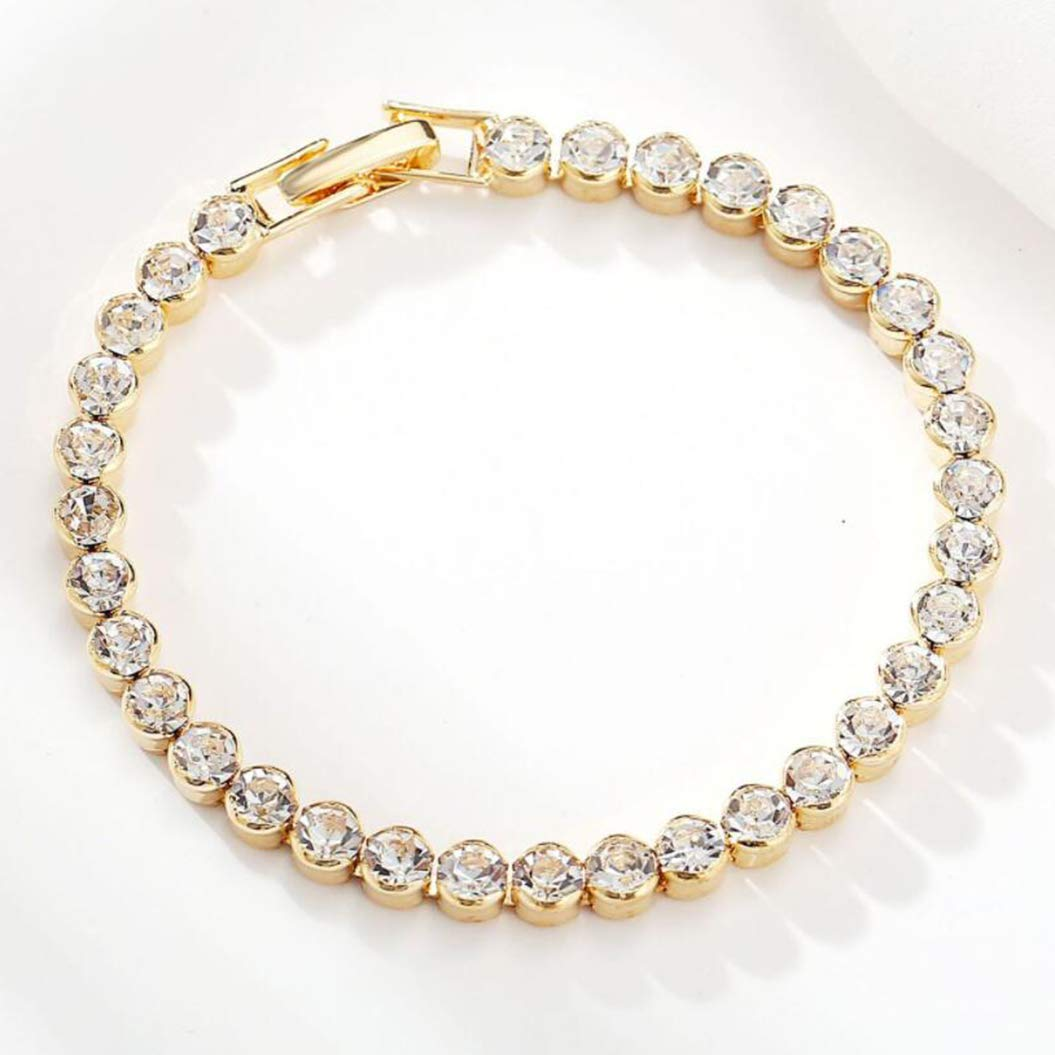 Round Cut Bracelet with A New Full Diamond Single Row Bracelet Roman Crystal Simple Diamond Bracelet(Gold)