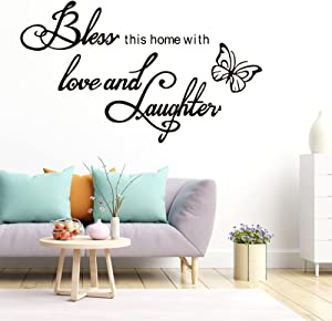 Bless This Home with Love and Laughter, Warm Family Quotes Wall Decal, Vinyl Art Butterfly Wall Decor, Scripture Faith Sayings Words Sticker, Religious Bible Prayer Verse Sticker for Living Room