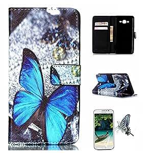 Para Samsung Galaxy On5 Funda, Mobilefashion Funda de PU Cuero Case para Samsung Galaxy On5 G550 (Mariposa azul YH) Con Soporte Plegable y Ranura para tarjeta + 1x protector de pantalla gratis