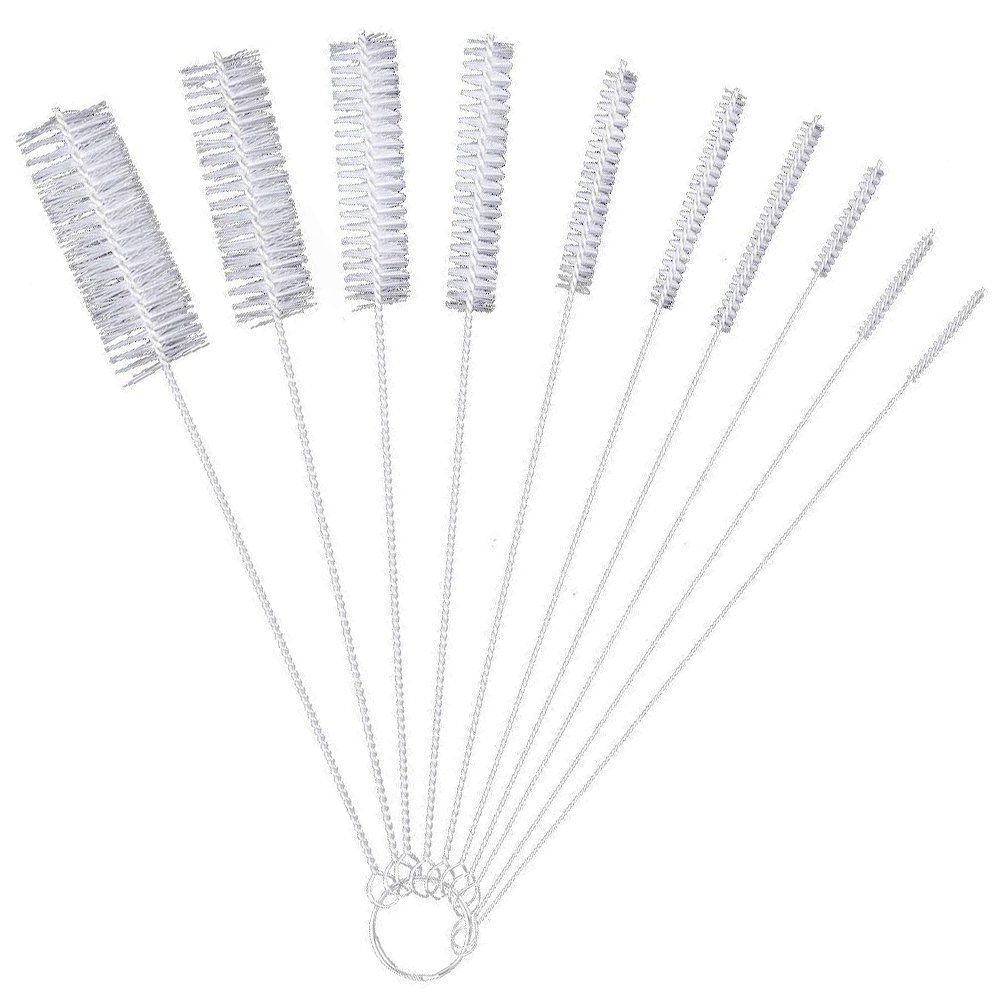 Bottle Cleaning Brushes, Cleaning Brush, Cleaner for Narrow Neck Bottles Cups with Hook, Set of 10 - Black AKORD