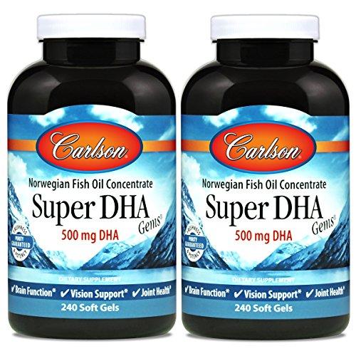Carlson Super DHA Gems, Norwegian, 500 mg DHA, 240 Soft Gels
