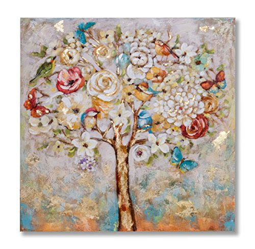 """Springtime Oil Painting (In Liu Of Modern Oil Painting """"Blossoming Springtime"""" (Birds, Butterflies, Flowers) Hand-Painted Fine Acrylic Artwork 