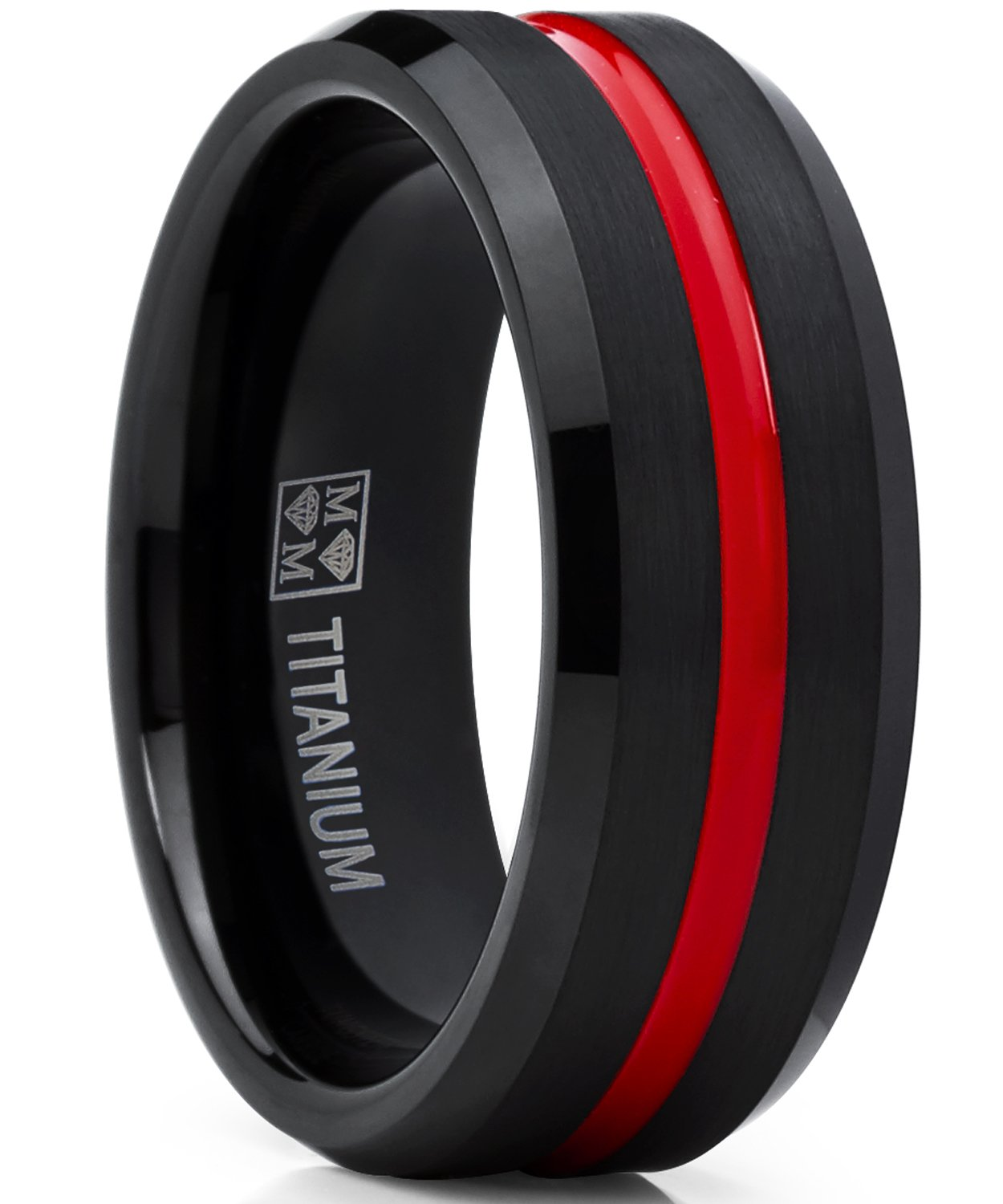 Metal Masters Co. Titanium Ring Wedding Band, Black and Red Plated Brushed Engagement Ring, Grooved, Comfort Fit 10