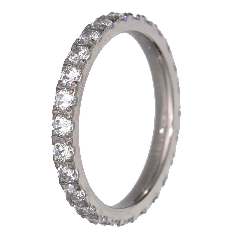 FlameReflection Womens White Titanium Eternity Rings Cubic Zirconia Wedding Engagement Band size 7