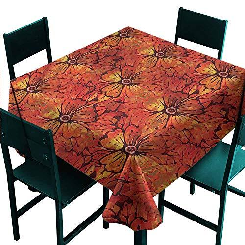 (DONEECKL Square Tablecloth Batik Grungy Flower Romantic Washable Tablecloth W60 xL60)