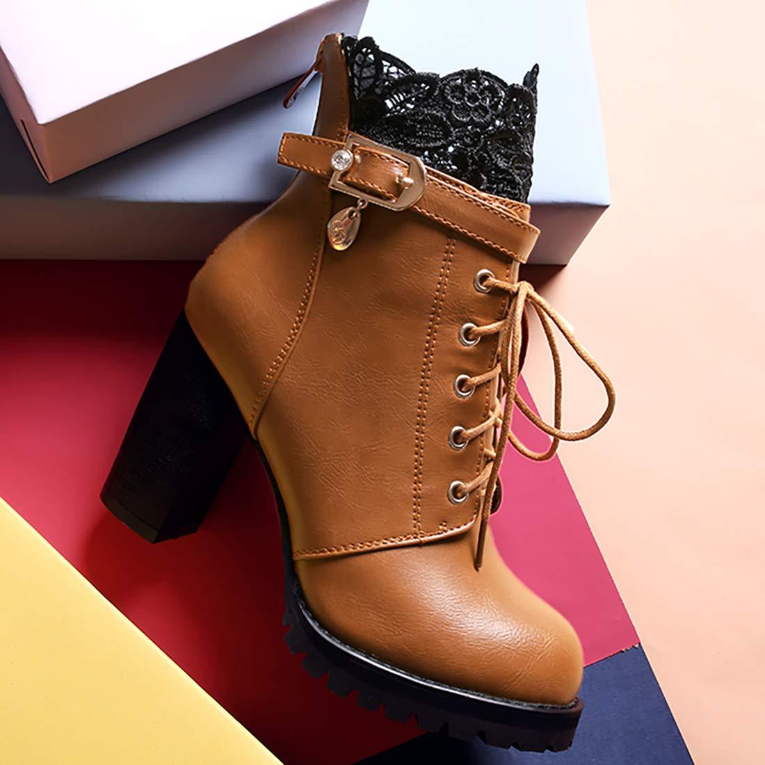 Vitalo Womens Block High Heel Platform Lace Up Buckle Ankle Boots Autumn Winter Booties