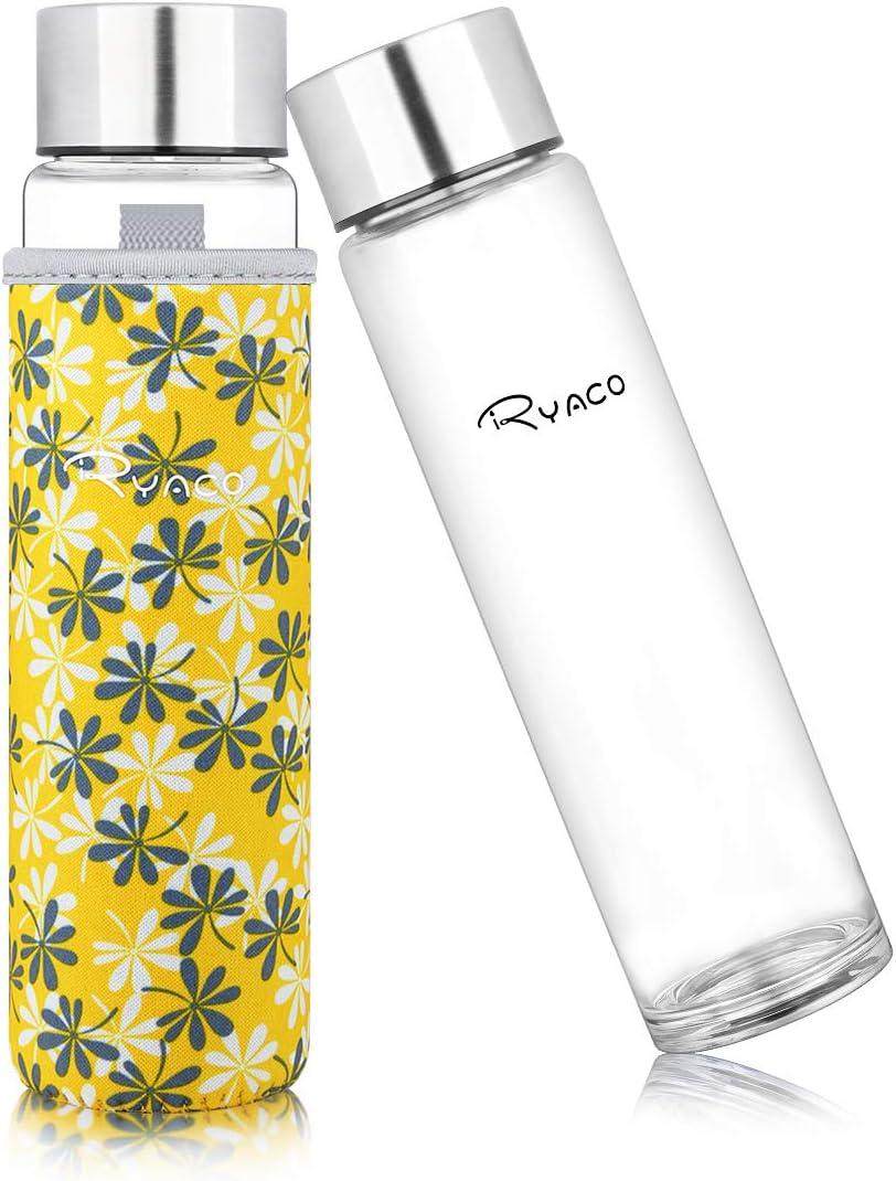 Ryaco Botella de Agua Cristal 420ml, Botella de Agua Reutilizable 14 oz, Sin BPA Antideslizante Protección Neopreno Llevar Manga y Cepillo de Esponja