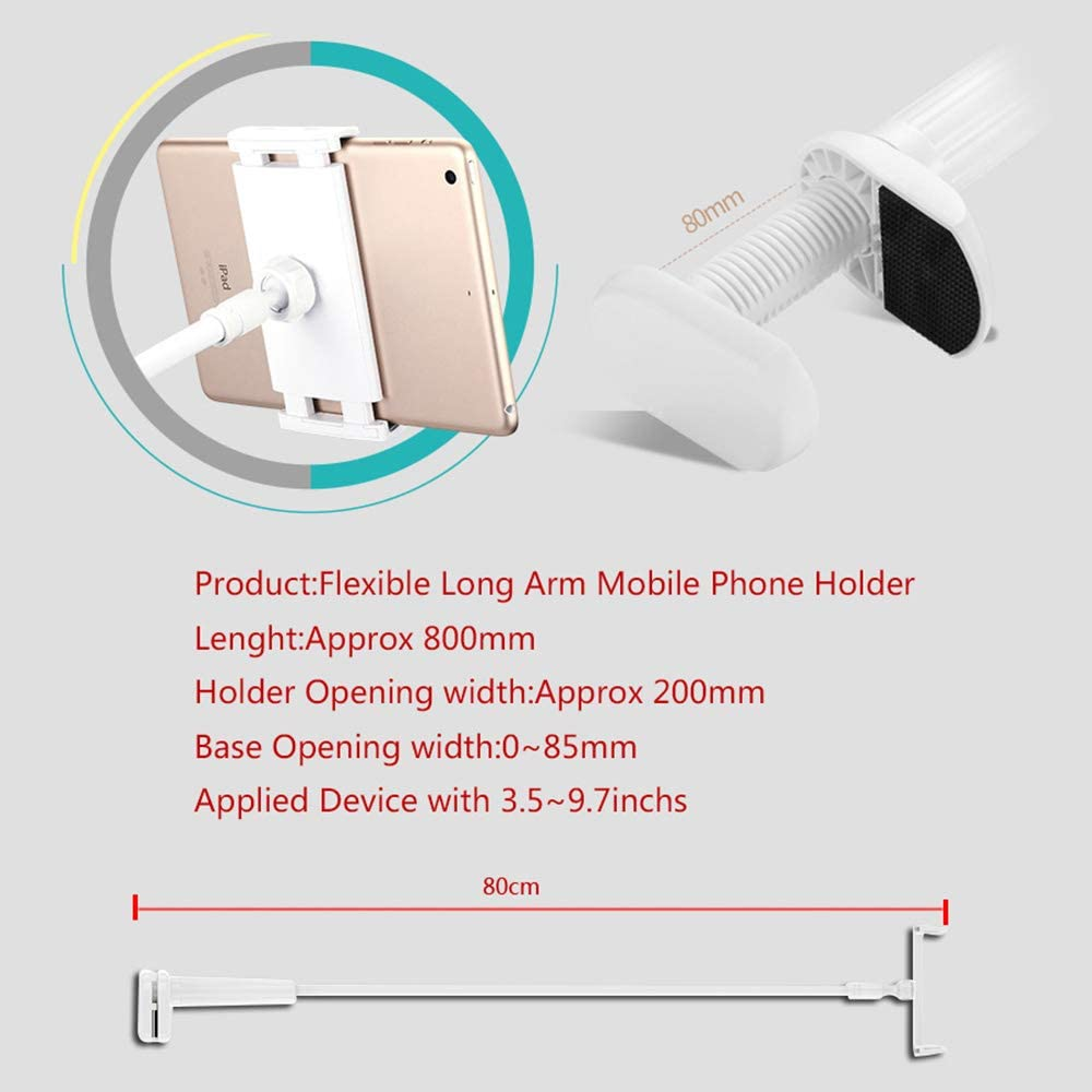 White More 4.7-6.8 inch Cell Phone Holder Samsung Galaxy S20 Plus Ultra Phone Holder Adjustable Phone Mount Cradle Stand Flexible Arm Clip Mount Compatible with iPhone 11 Pro max 8 7 6Plus