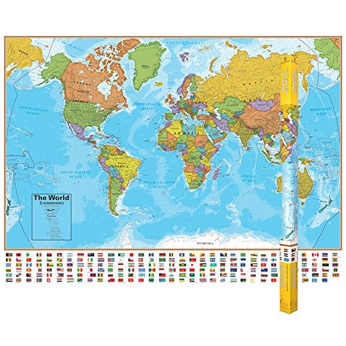 Hemisphere World Wall Map With Flags   51 W X 38 H   Up To Date Cartography   Laminated For Use With Dry Erase Marker   Perfect For Home  Office And Classroom
