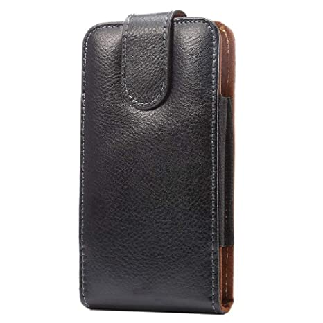 DFV mobile - Gürteltasche Echtleder Etui mit Gürtelclips Swivel 360º aus Premium Echtem Leder für => DOOGEE Y6 Piano Black >