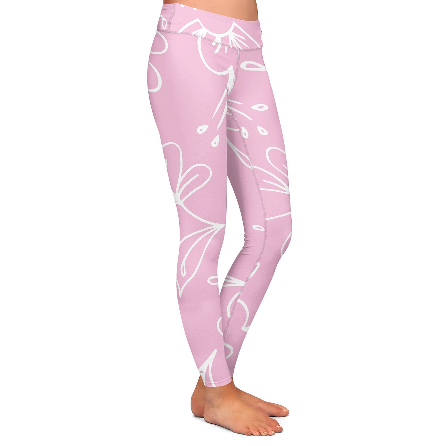 Pink Flora Mix Athletic Yoga Leggings from DiaNoche Designs by Zara Martina