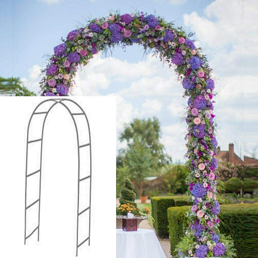 Newsmarts 7.9Ft Metal Garden Arch Army Green Garden Arbor for Climbing Plant Outdoor Wedding Party