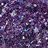 "Custom & Fancy Approx 0.5 Teaspoon of Small ""Nail Art"" Party Confetti Made of Premium Mylar w/ Dark Shiny Amethyst Tone Sparkling Stars Chunky Glitter Dust Mix [Purple, Blue, Red & Green]"