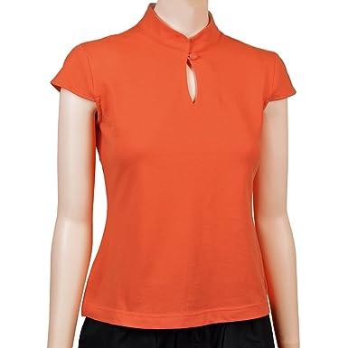 Sinologie - Polo - Cuello Mao - Mujer Naranja XL: Amazon.es: Ropa ...