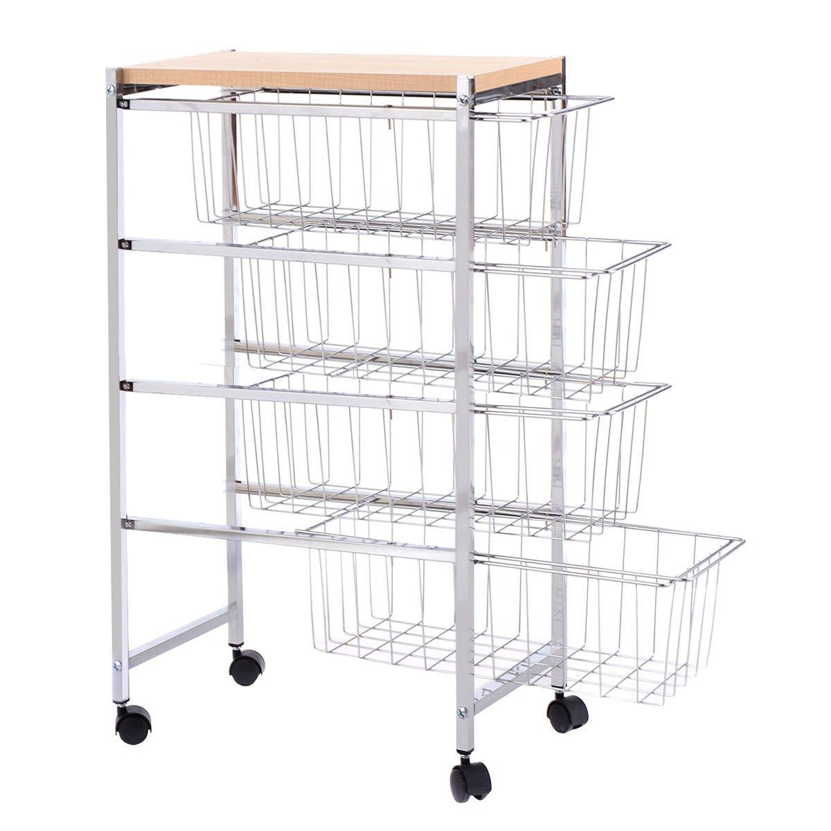 Trolley Cart 4 Tiers Baskets Rack Storage Rolling Home Kitchen Garage Wood Top