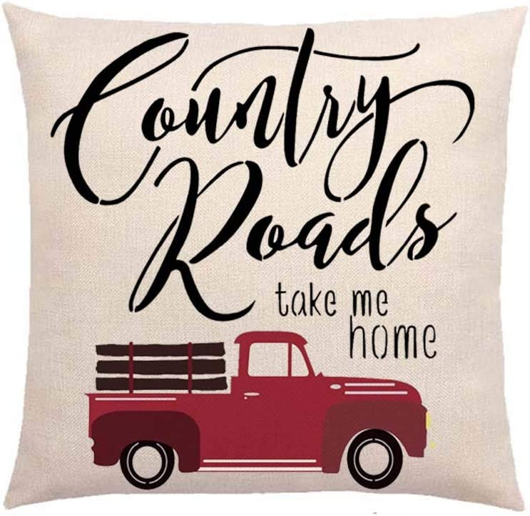 SLS Country Roads take me Home Cotton Linen Decorative Throw Pillow Case Cushion Cover Linen Pillow case 18X18 (30)
