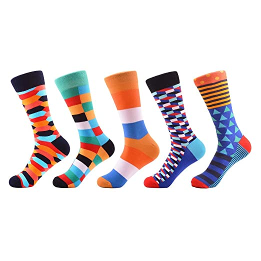 Qhome Mens Colorful Combed Cotton Skateboard Socks Calcetines Largos Hombre Casual Socks