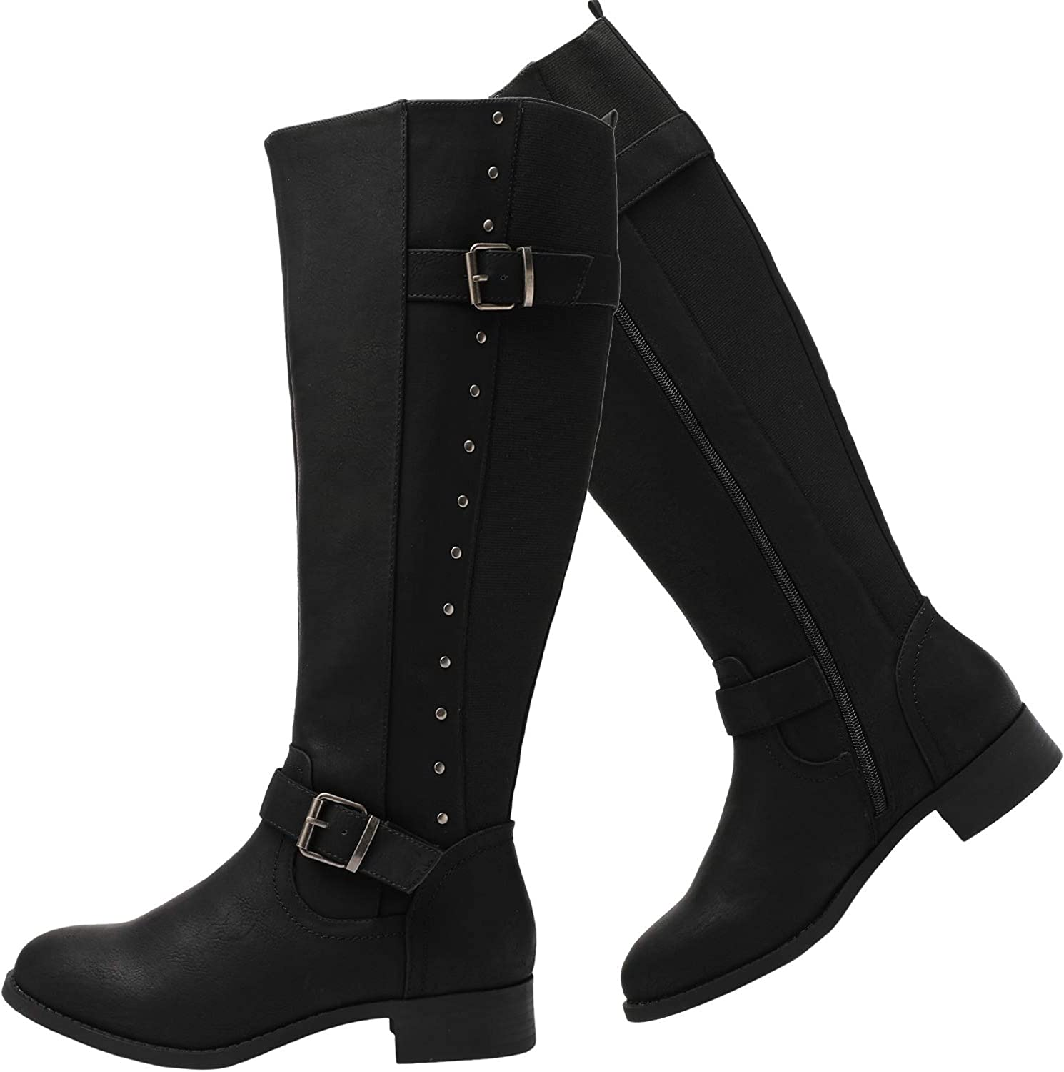 Ladies Wide Calf Boots Womens Winter Gusset Heel Fashion Comfy Casual Shoes Size