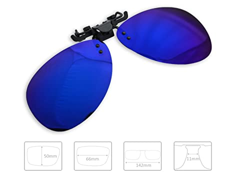 0af26369cc54 ENEM Day Vision Polarized Mirror Finish Clip-on Flip-Up Aviator Driving  Sunglasses (Blue)  Amazon.in  Car   Motorbike