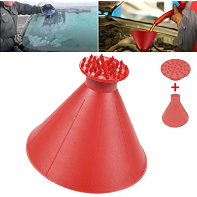Round Windshield Ice Scrapers, Magical Car Windshield ICES Snow Remover Scraper Tool Portable Cone Shaped Round Funnel 1Pack Red: Automotive