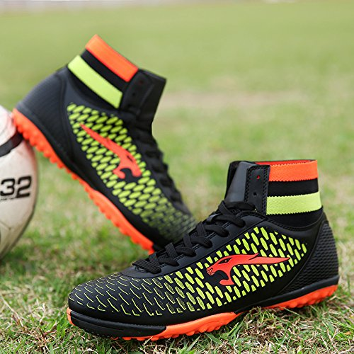 BOLOG talla 33-45 Zapatos de fútbol TF Césped Fútbol Clamps Man Training Game Zapatillas de deporte de alto (zapatos de fútbol con calcetines) negro