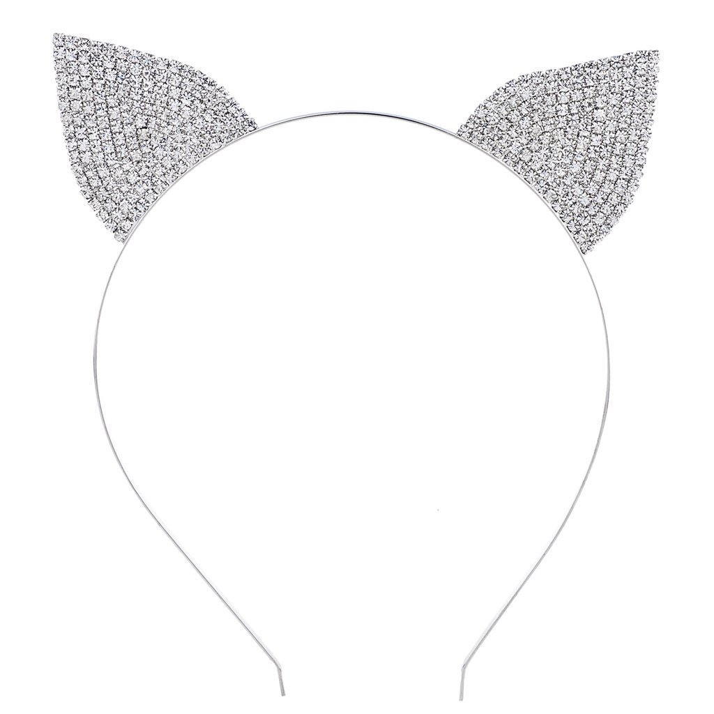 Lux Accessories Silver Tone Crystal Pave Rhinestone Kitty Cat Ears Headband