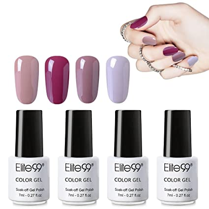 Elite99 Esmaltes Semipermanentes, 4pcs Kit de Uñas en gel UV LED, Esmaltes de Uñas