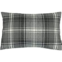 "McAlister Angus Boudoir Decorative Pillow Cover | 18x12"" Charcoal Gray Black and White | Burlap-Texture Buffalo Plaid | Tartan Check Farmhouse Accent Décor"
