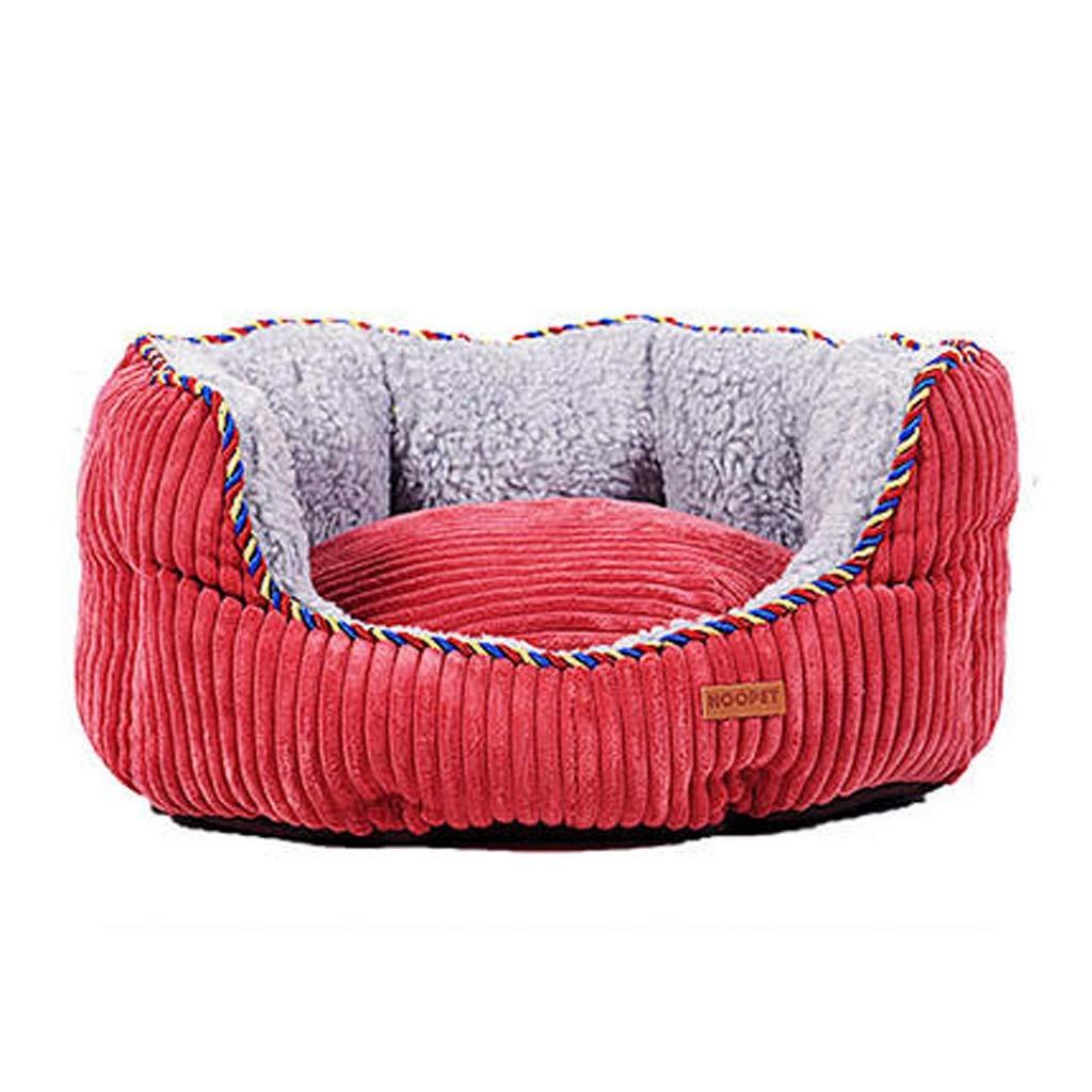 XJZxX 犬小屋のソファ犬のベッド取り外し可能と洗える小さな中大型犬の猫のベッドペット用品四季のユニバーサルペット巣快適なソフトラウンドパッド (色 : ブラウン ぶらうん, サイズ さいず : 115CM) B07R7DRP6T 赤 60CM 60CM|赤