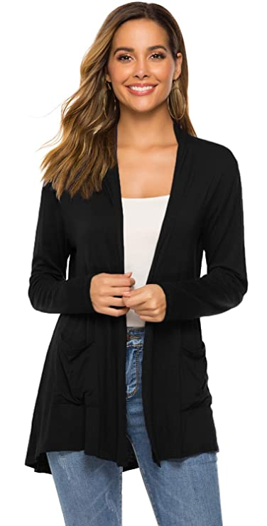 Black Long Sleeve Cardigan for Women,Women Long Sleeve Open Drape Front Plus Size Pocket Cardigans Kimono (01Black, XL(16-18)) best women's cardigans
