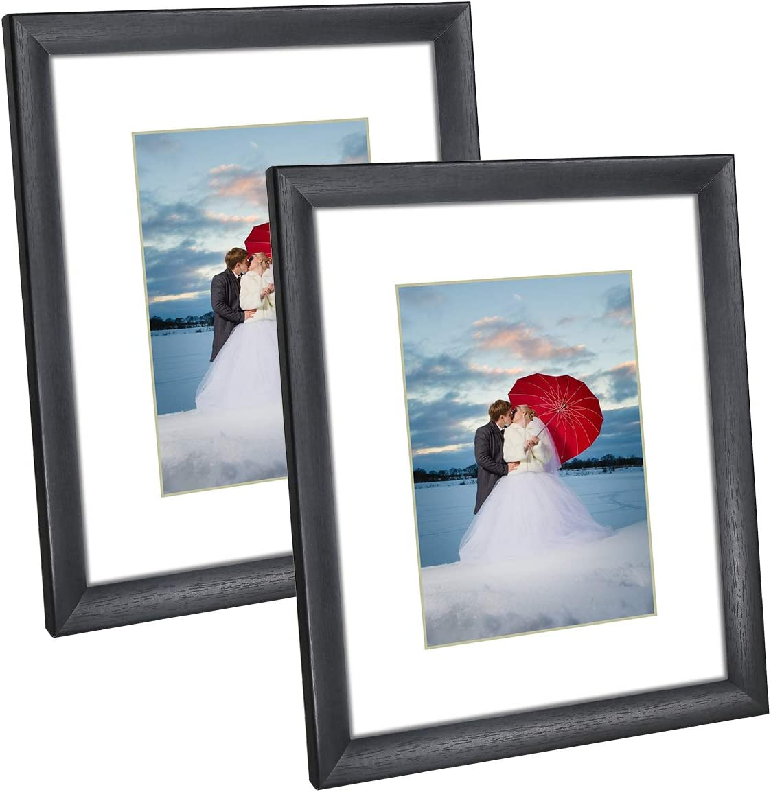 Q.Hou 8x10 Picture Frame Black Photo Frames Set of 2, Display Picture 5x7 with Mat or 8x10 Without Mat for Tabletop or Wall Mount (QH006-PF8X10-BK)
