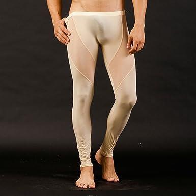 d2cfa5e0e6818 NSFashion Men's Mesh Sexy Sheer Long Johns Thermal Bottom Pants Underwear,  L (29.9-