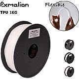 Pxmalion Flexible TPU 3Dプリンター用FLEX弾性樹脂フィラメント素材 フレキシブルマテリアル弾性曲がりやすい 柔軟性も耐久性も優れる 1.75mm径 正味量1KG(2.2LB) 精確度+/- 0.03mm だいぶの3Dプリンターが適用 (白/ホワイト)