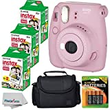 Fujifilm Instax Mini 8+ (Strawberry)Instant Film Camera W/ Self Shot Mirror + Fujifilm Instax Mini 3 Pack Instant Film(60 Shoots) + Case + Batteries Top Kit - International Version (No Warranty)