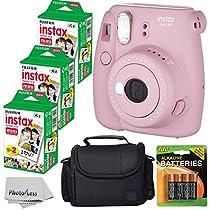 Fujifilm Instax Mini 8+ (Strawberry)Instant Film Camera W/ Self Shot Mirror + Fujifilm Instax Mini 3 Pack Instant Film(60 Shoots) + Case + Batteries Top Kit - International Version (No Warranty)