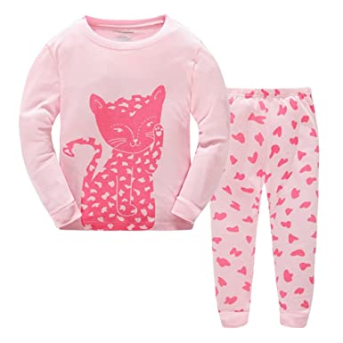 Toddler Girls Pajamas Long Sleeve Sleepwear Paj Set Pink Kids Little Cute Cat Little Kitty Cotton