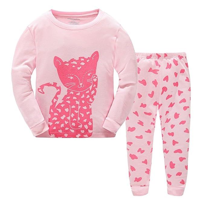 360587af2652 Toddler Girls Pajamas Long Sleeve Sleepwear Paj Set Pink Kids Little ...