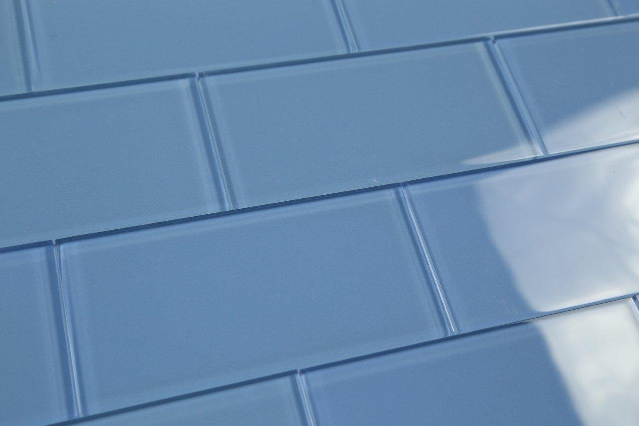 Dark Haven Blue Subway Glass Tile Hand Crafted and Custom Made. Perfect for kitchens and bathrooms, 3x6 (10 Sq Ft Box)