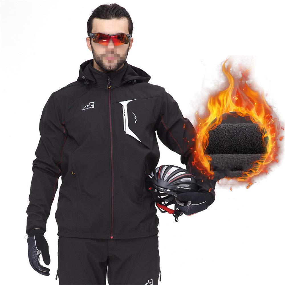 AUMING Fahrradbekleidung Set Atmungsaktive Fahrradbekleidung Sets Winter Männer und Frauen Mountainbike langärmelige + Winddichte Radhose (Größe   XXXL)