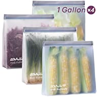 Stand-Up Reusable Gallon Storage Bags (1 Gallon, Set of 4) - Leakproof Ziplock Gallon Freezer Bags for Sandwich, Snack, Meat, Vegetables, Fruit etc.