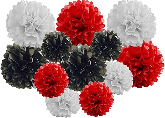 Red Black Shade Pack of 12 Mixed 6and 8 Tissue Paper Pompom Pom Pom Hanging Flower Balls Garland Wedding Party Decorations