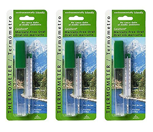 Pack of 3 Geratherm Mercury Free Oral Glass Thermometer Bundled by Maven (Geratherm Mercury Free Oral Thermometer)