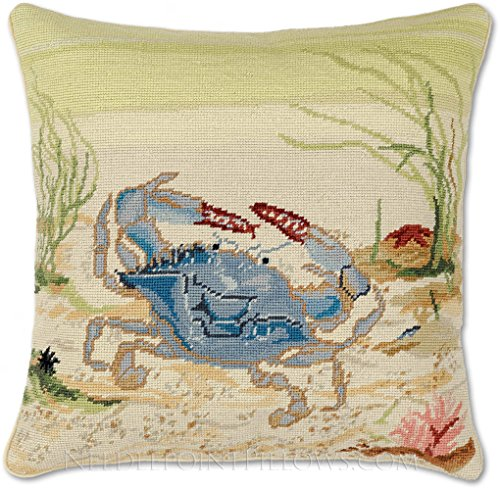 Handmade 100% Wool Decorative Needlepoint Coastal Maritime Shore Beach Maryland Blue Claw Crab Throw Pillow. 18