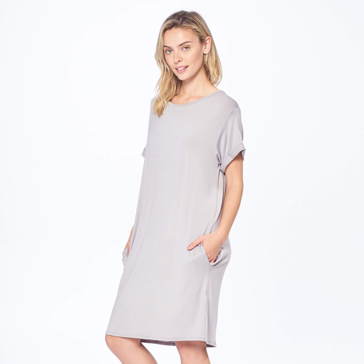 5553669c864 Isaac Liev Women's Cuffed Sleeve Tunic Dress at Amazon Women's Clothing  store: