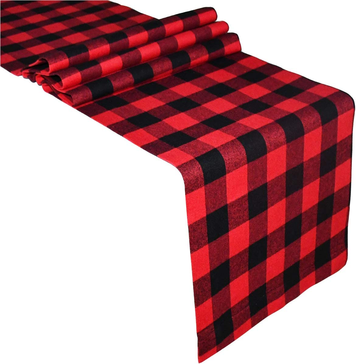 Senneny Buffalo Check Table Runner Cotton Red and Black Plaid Classic Stylish Design for Family Dinner Christmas Holiday Birthday Party Table Home Decoration, 14 x 108 Inch
